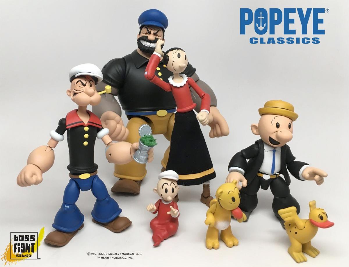 Action Figures Marinheiro Popeye 1:12 com Popeye, Olívia Palito, Gugu, Brutus e Dudu (Boss Fight Studio)