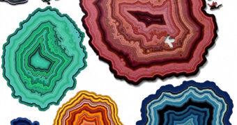 Quebra-Cabeças Geodos de Ágata com 360 Peças de Madeira