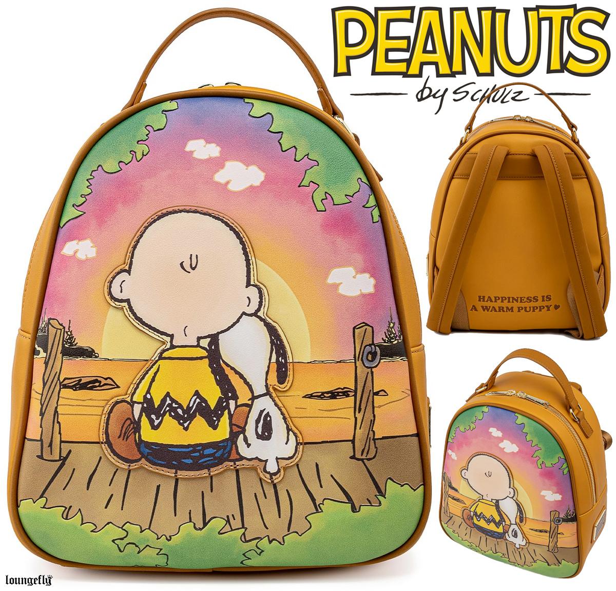 Mini Mochila Peanuts Loungefly: Charlie Brown e Snoopy Melhores Amigos