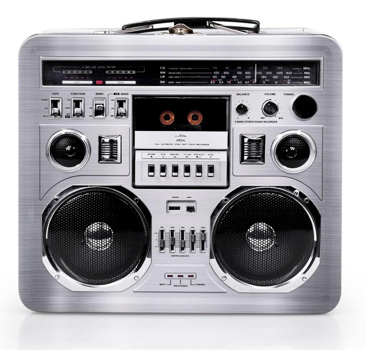 Lancheira 80s Boombox Radio Lunchbox Tin Tote