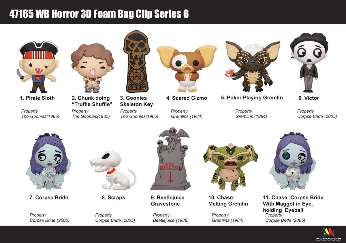 Chaveiros Warner Bros. Horror 3D Figural Bag Clips: Goonies, Gremlins, Beetlejuice e Noiva-Cadáver (Blind-Box)