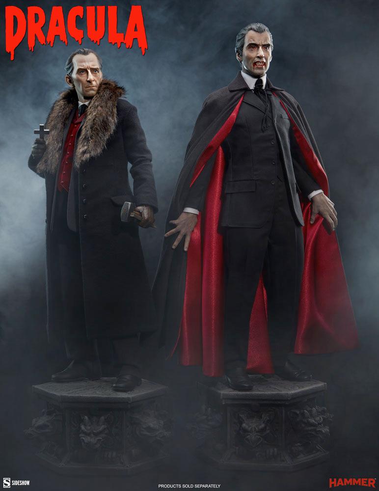 Conde Drácula e Van Helsing Premium Format – Estátuas Sideshow Collectibles 1:4 do Filme Dracula de 1958 (Hammer Horror)