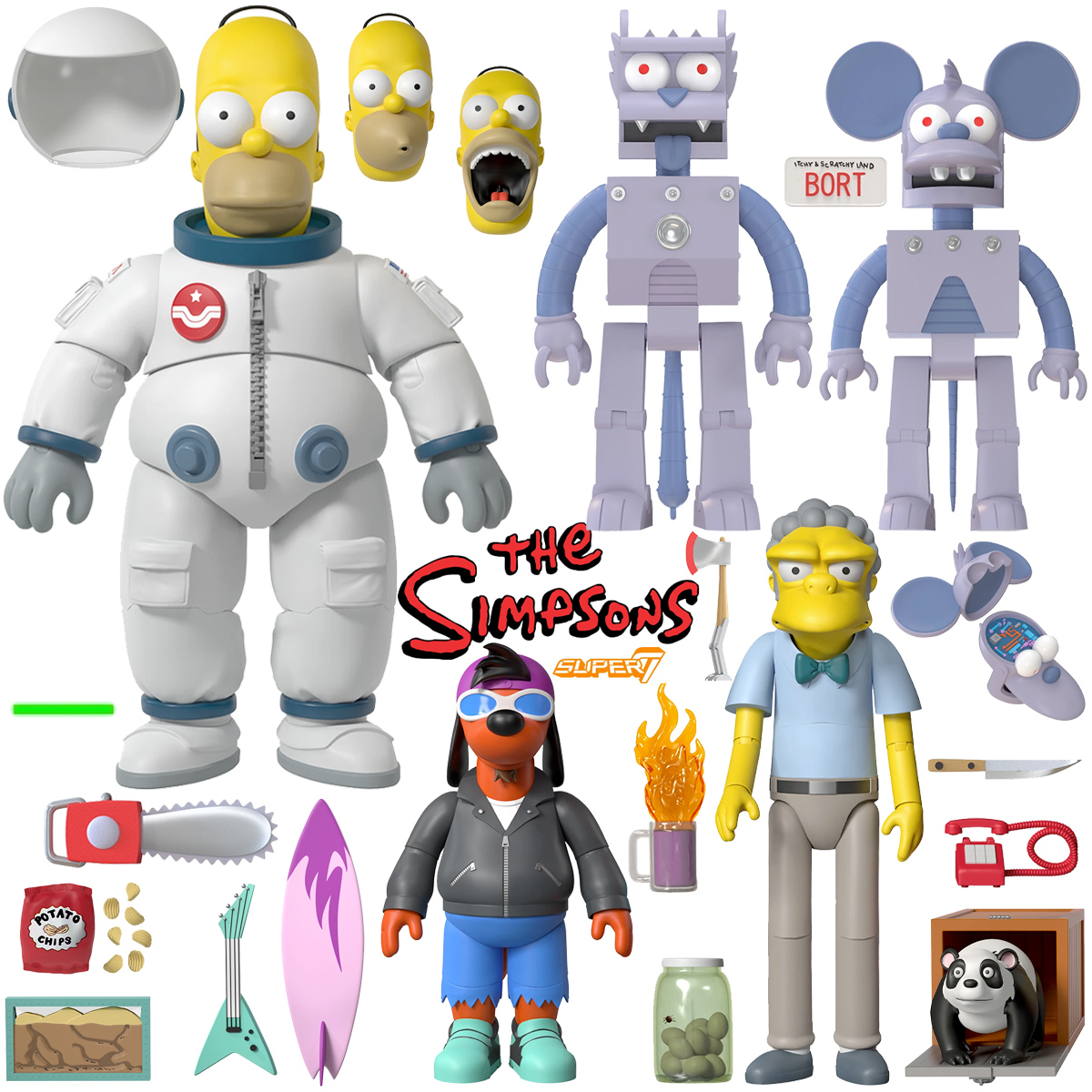 Os Simpsons Action Figures Super7 Ultimates: Deep Space Homer, Moe, Poochie, Robots Itchy & Scratchy