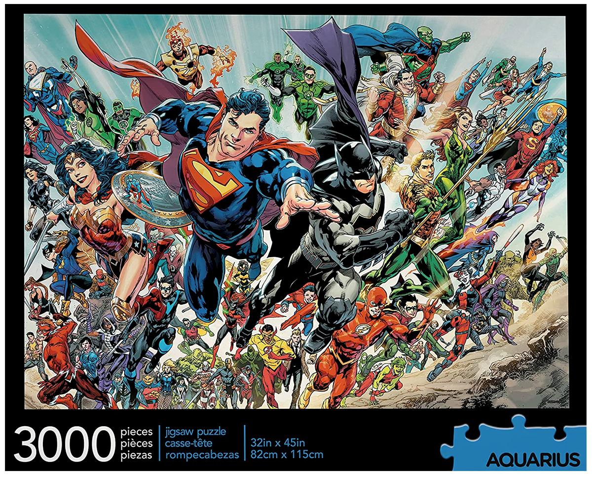 Quebra-Cabeça DC Comics Cast com 3.000 Peças e o Elenco das Histórias em Quadrinhos