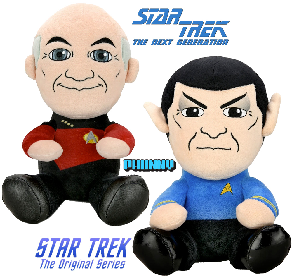 Bonecos de Pelúcia Kidrobot Phunny Star Trek: Sr. Spock e Capitão Picard