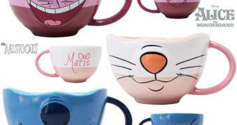 Canecas Sorrisos Disney: Gato Cheshire, Marie e Stitch