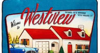 """Cobertor de Lance WandaVision Cartão-Postal """"Welcome to Westview"""""""