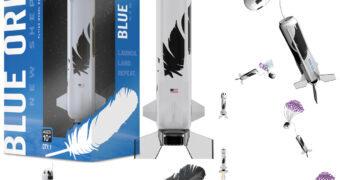 Modelo do Blue Origin New Shepard que Levou o Capitão Kirk (William Shatner) para o Espaço