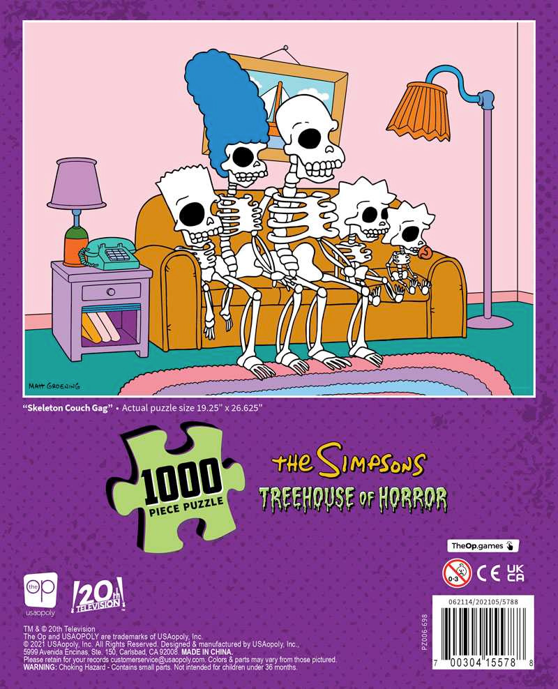 """The Simpsons Treehouse of Horror """"Skeleton Couch Gag"""" 1000 Piece Puzzle"""