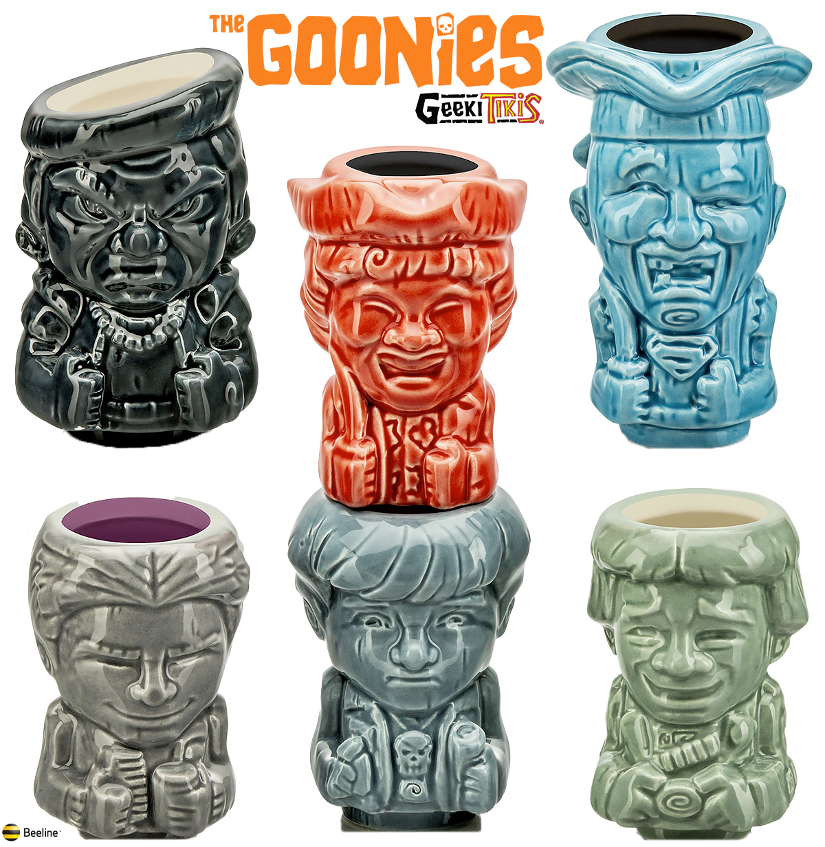Mini-Canecas Os Goonies Geeki Tikis: Mikey, Dado, Gordo, Bocão, Sloth e Mama Fratelli