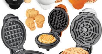 Mini-Waffles para o Halloween: Abóbora, Caveira e Teia de Aranha