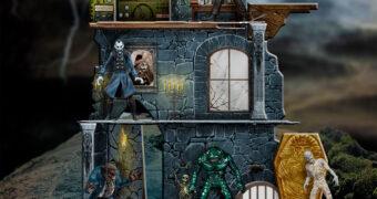 """Monstros Clássicos """"Mezco's Monsters"""" 5 Points Action Figures e Castelo Playset"""